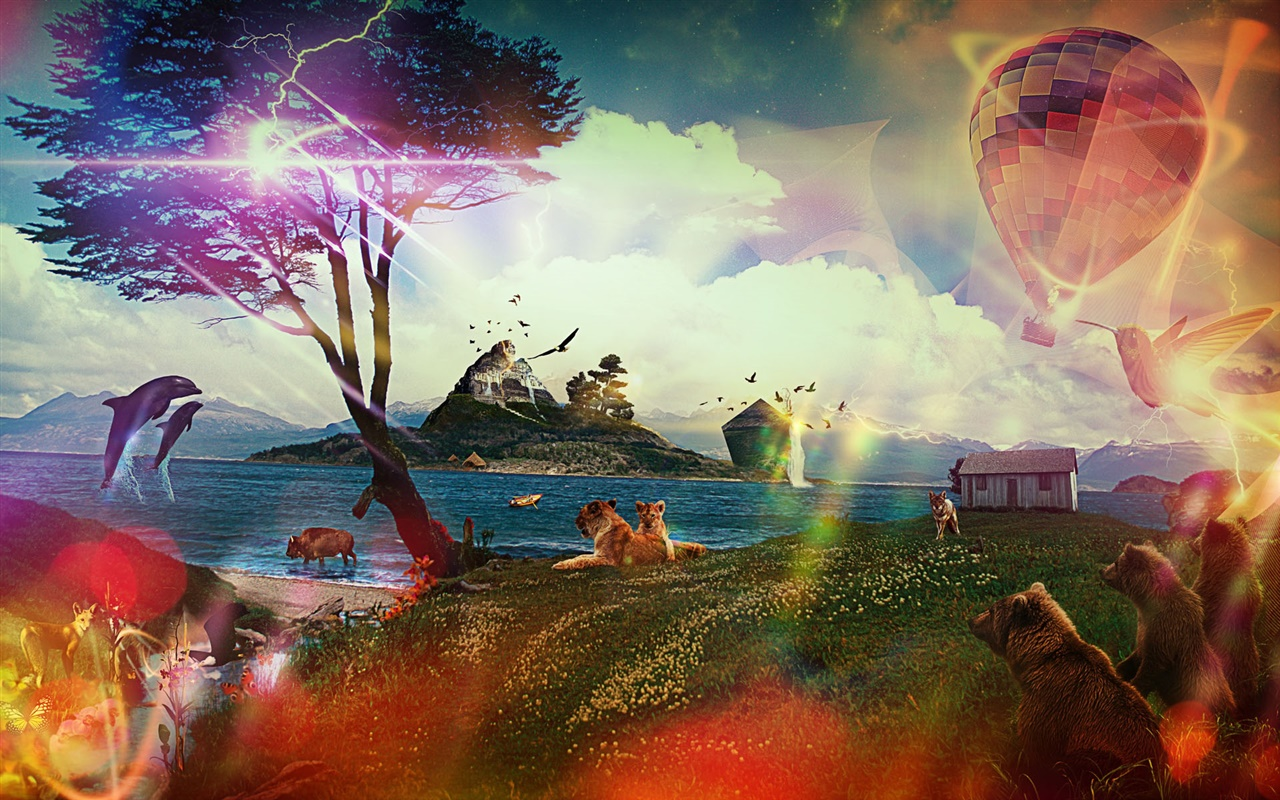 Animals dream world, creative design 1280x800 wallpaper