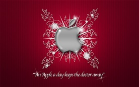 Apple logo, flowers, red background
