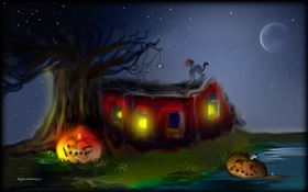 Art painting, Halloween, pumpkins, spider, cat, tree, moon HD wallpaper