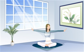 Asian girl doing yoga, window, room, vector pictures HD wallpaper