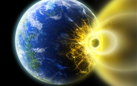 Asteroid colliding with Earth, devastation HD wallpaper