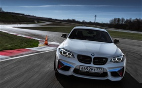 BMW M2 F87 Coupe front view, white color car HD wallpaper