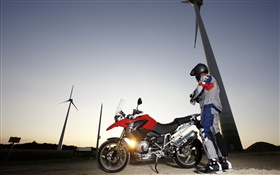 BMW R1200 GS motorcycle, drivers, sunset, windmills HD wallpaper