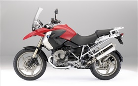 BMW R1200 GS motorcycle, red and black HD wallpaper