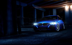 BMW blue car at night, lights