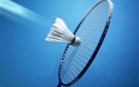 Badminton and racket, blue background HD wallpaper