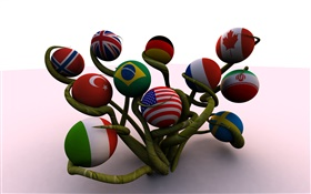 Ball shaped flags, tree, 3D creative HD wallpaper