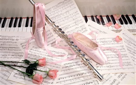 Ballet shoes, flute, pink roses, musical scores HD wallpaper