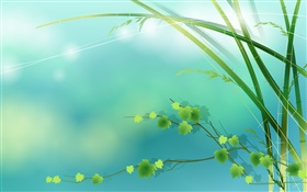 Bamboo, green, leaves, spring, vector pictures HD wallpaper