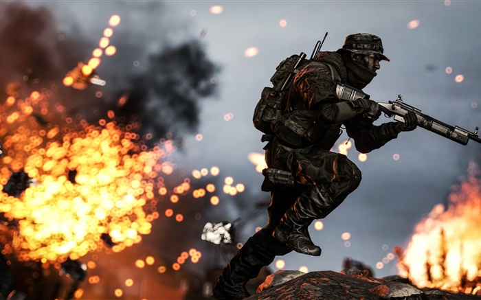Battlefield 4, soldiers, rifle, running, fire Wallpapers Pictures Photos Images