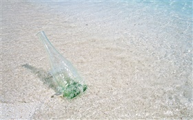 Beach, sea, water, glass bottle, Maldives HD wallpaper