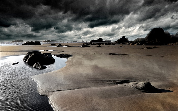 Beach, stones, coast, sea, cloudy sky Wallpapers Pictures Photos Images