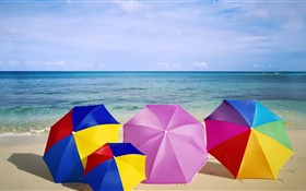 Beach, umbrellas, colorful, summer HD wallpaper