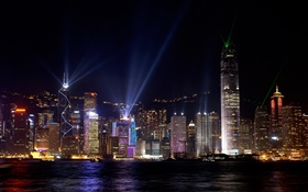 Beautiful Hong Kong, city night, skyscrapers, lights, sea