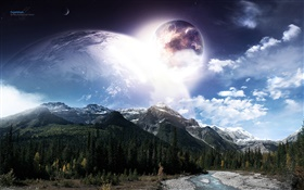 Beautiful art landscape, planets, space, mountains, river, trees HD wallpaper