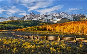 Beautiful autumn landscape, mountains, forest, fence
