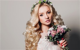 Beautiful blonde girl, curls, bouquet flowers, wreath