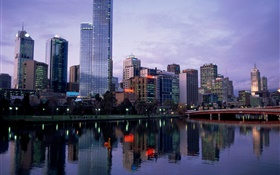 Beautiful city, dusk, river, bridge, buildings, Australia HD wallpaper