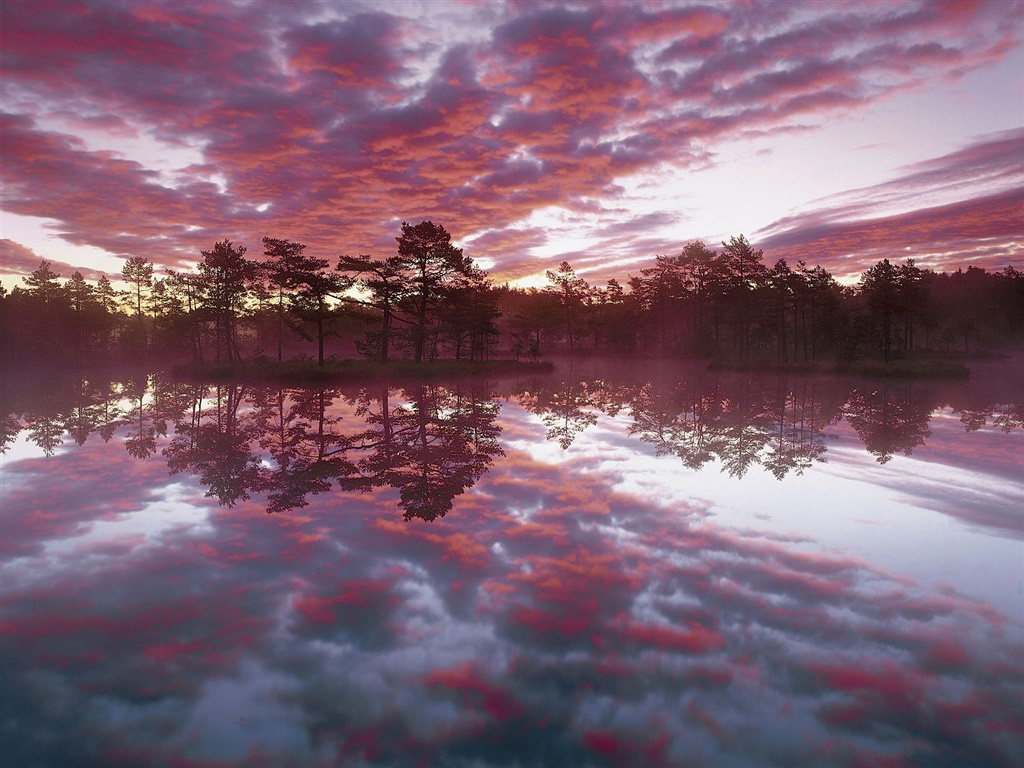 Beautiful dusk, trees, lake, water reflection, red clouds 1024x768 wallpaper