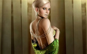Beautiful fantasy girl, blonde, green eyes, look back HD wallpaper