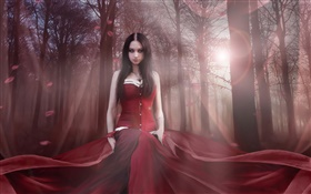 Beautiful fantasy girl, red dress, forest, sun HD wallpaper
