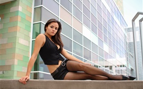 Beautiful girl on the steps, pantyhose, city HD wallpaper