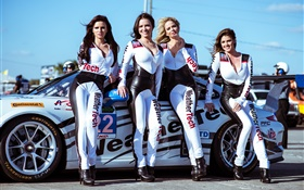 Beautiful girls and porsche supercar HD wallpaper
