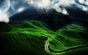 Beautiful landscape, green hill, road, clouds