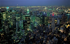 Beautiful night city, lights, top view, New York, USA HD wallpaper