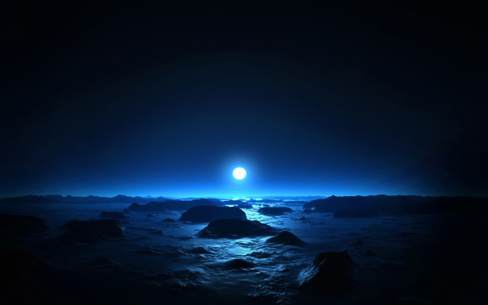 Beautiful night, sea, coast, moon, blue style Wallpapers Pictures Photos Images