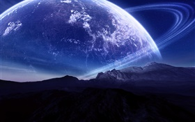 Beautiful scenery, mountains, planet, aura HD wallpaper