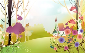 Beautiful spring, flowers, trees, sun, house, vector design HD wallpaper