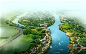 Beautiful top view the park, river, grass, trees, birds, 3D render design HD wallpaper