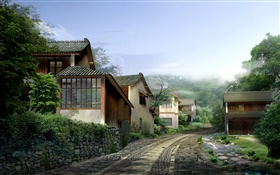 Beautiful village, houses, road, stones, fog, 3D render design HD wallpaper