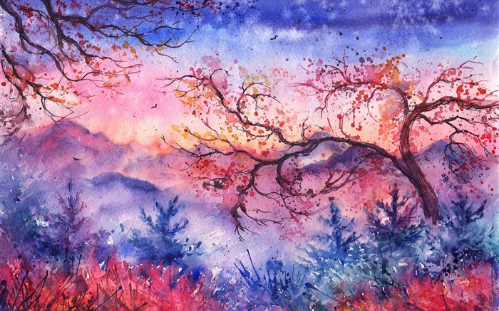 Beautiful watercolor painting, evening, trees, mountains, red style Wallpapers Pictures Photos Images