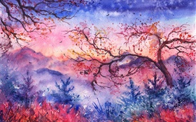 Beautiful watercolor painting, evening, trees, mountains, red style HD wallpaper