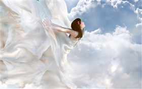 Beautiful white dress angel, fantasy girl, clouds HD wallpaper