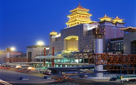 Beijing West Railway Station, night, city, lights, China HD wallpaper