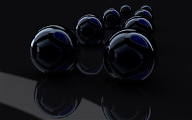 Black 3D balls HD wallpaper