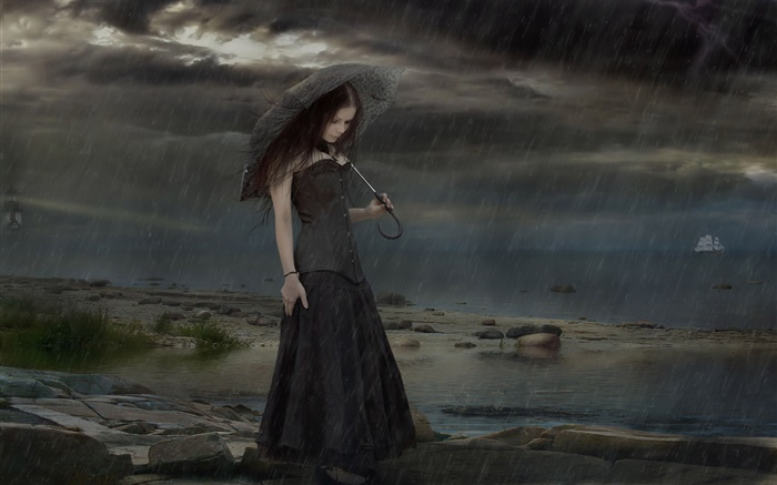 Black dress fantasy girl at rainy night, umbrella Wallpapers Pictures Photos Images