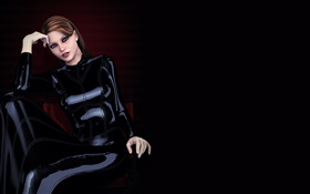 Black dress fantasy girl, sit at chair HD wallpaper