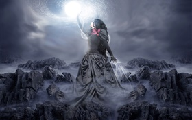 Black dress fantasy girl touch the moon HD wallpaper