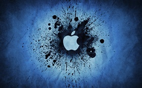 Black ink splash, Apple logo HD wallpaper
