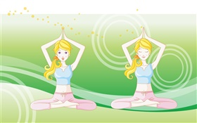 Blonde Yoga girl, vector pictures HD wallpaper