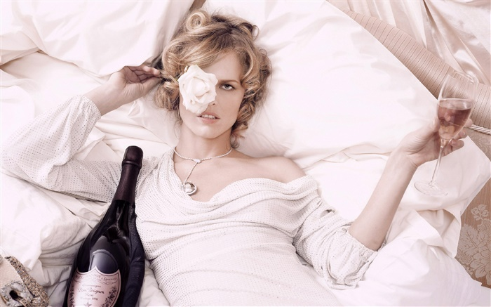 Blonde girl lying bed, wine, rose Wallpapers Pictures Photos Images