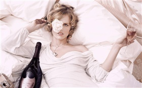 Blonde girl lying bed, wine, rose HD wallpaper
