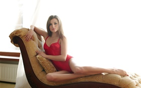 Blonde girl, red dress, bodysuit, sofa HD wallpaper
