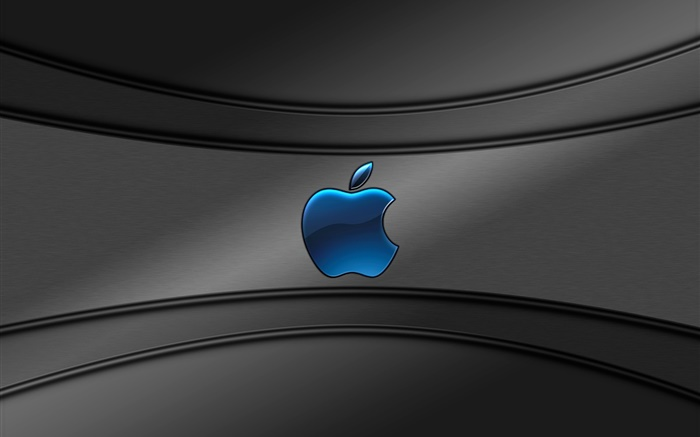 Blue Apple logo, gray background Wallpapers Pictures Photos Images