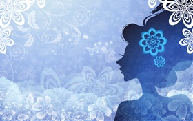 Blue background, vector girl, flowers, butterfly HD wallpaper