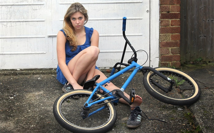 Blue dress girl, bike Wallpapers Pictures Photos Images